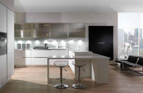 Cucina in vetro liscio trasparente e impiallacciato bianco for Ingrosso oggettistica cucina