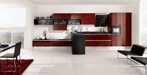 Cucina vetro liscio amaranto con penisola rovere lazio for Ingrosso arredamenti roma
