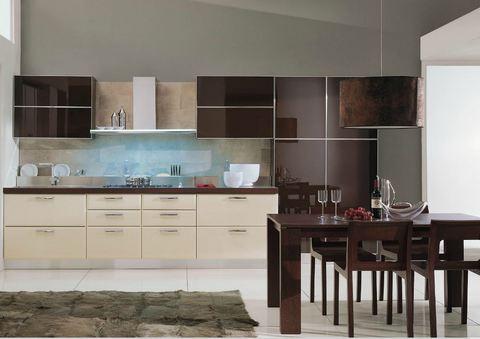 Cucina ante superiori vetro caff ed inferiori mdf avorio - Ante in vetro cucina ...