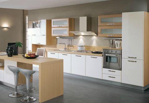 Cucina ante mdf saponetta bianco opaco piano rovere chiaro - Cucina rovere bianco ...