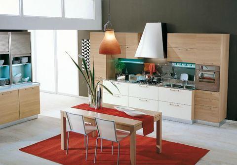 Cucina lineare laminata rovere chiaro e bianco laccato - Cucina rovere bianco ...