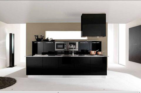 Cucina con isola pvc nero lucido roma grandi sconti for Ingrosso oggettistica cucina