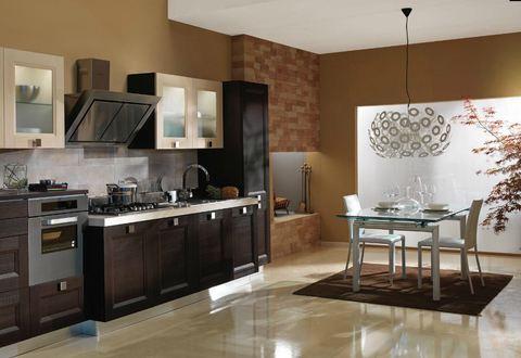 cucina in yellow pine moka pensili naturale e vetro