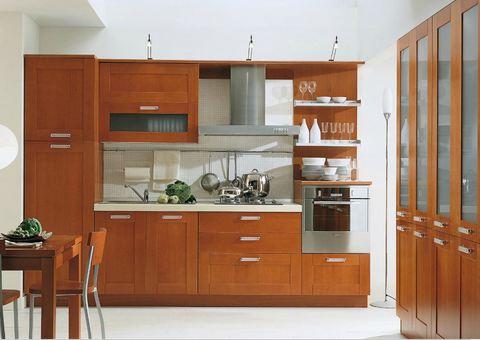 Cucina lineare pannello ecologico impiallacciato ciliegio - Cucine in ciliegio ...