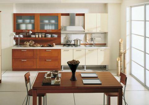 Cucina lineare massello ciliegio e vetro bianco roma