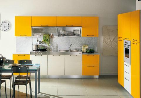 Cucica laccata giallo melone e bianco piano acciaio e for Ingrosso arredamenti roma