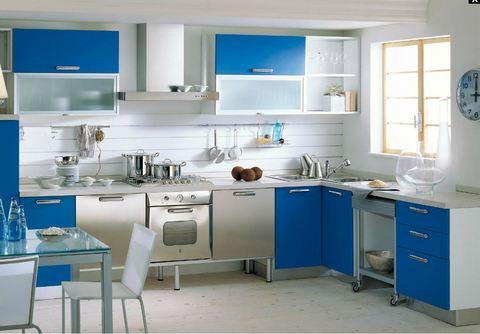 Cucina tempera laccata angolare azzurra acciao e vetro for Ingrosso oggettistica cucina