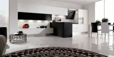 Cucina con soggiorno in appendice vetro temperato grandi for Ingrosso oggettistica cucina