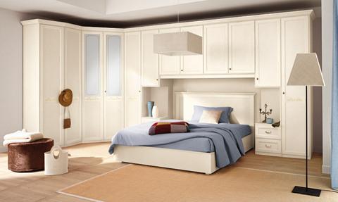 Camera armadio angolare ante battente bianco+vetro satinato