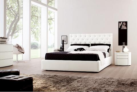 Camera matrimoniale moderna bianca letto ecopelle lazio grandi sconti arredamenti a roma - Camera da letto moderna bianca laccata ...