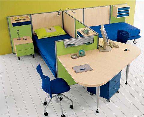 Cameretta open space due letti e scrivania lazio grandi - Cameretta due letti ...