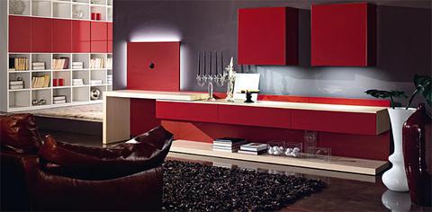 Soggiorno moderno rosso e bianco roma grandi sconti for Pittura soggiorno moderno