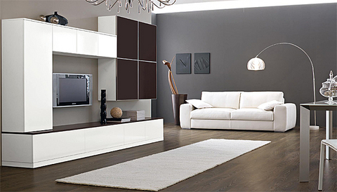 Soggiorno bianco e marrone con moduli chiusi roma grandi - Arredi soggiorno moderno ...