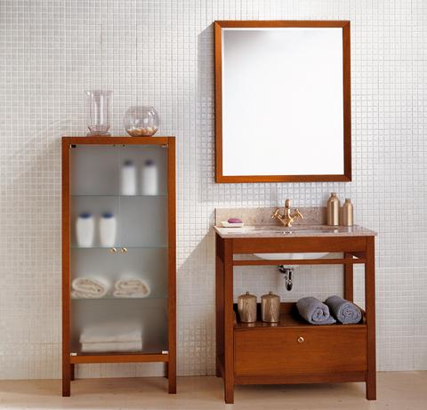 Mobile bagno base marmo con vetrina satinata lazio - Mobile bagno arte povera mondo convenienza ...