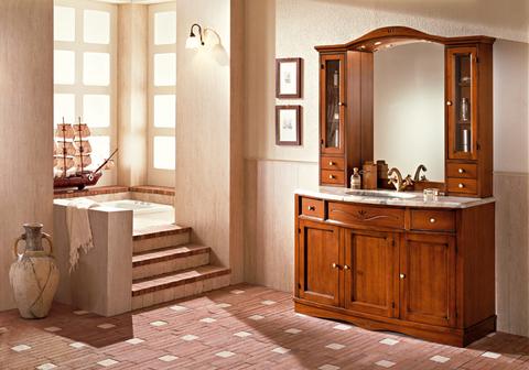 Mobile bagno classico in noce con lavabo curvo lazio - Mobile bagno usato roma ...