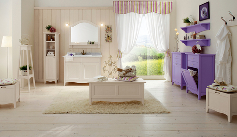 Arredo bagno completo bianco e viola opaco lazio grandi for Arredo bagno viola
