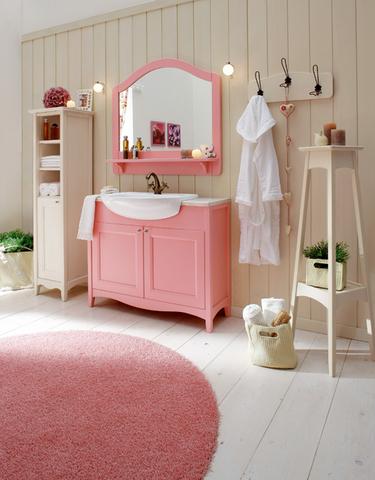 Mobile bagno rosa laccato opaco base in marmo roma