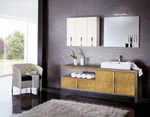 Mobile bagno con anta placcata con lamina oro roma