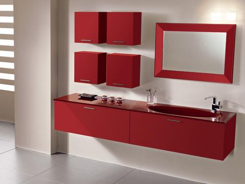 Arredo bagno rosso opaco con piano in cristallo roma grandi sconti arredamenti a roma - Arredo bagno sconti ...