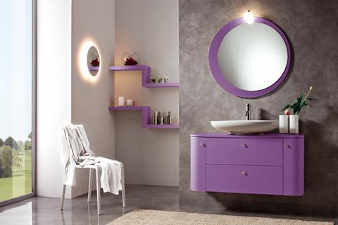 Mobile bagno viola opaco con lavabo pancino roma grandi for Viola arredamenti