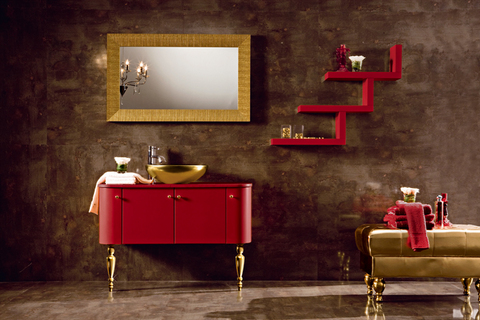 Mobile bagno rosso opaco con rifiniture oro roma