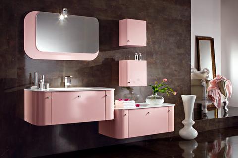 Mobile sospeso rosa opaco piano cristallo bianco roma