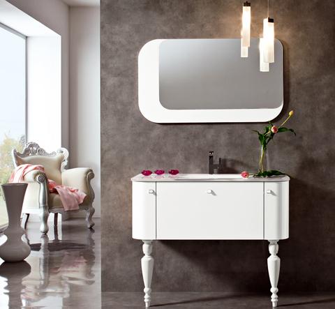 Mobile bianco lucido e specchio roma