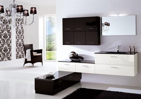 Arredo bagno completo bianco e nero lucido roma grandi sconti ingrosso arredamenti roma - Arredo bagno sconti ...