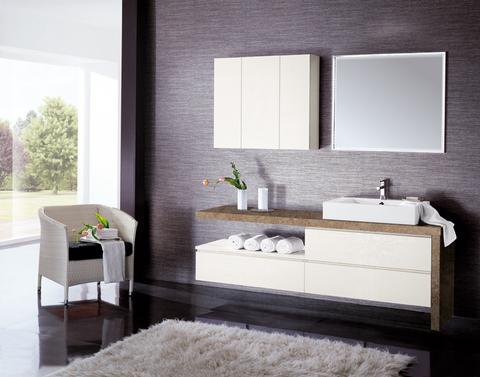Mobile bagno bianco opaco piano e lato in marmo lazio