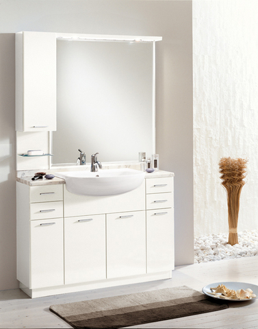 Mobile bagno monoblocco bianco lazio grandi sconti ingrosso arredamenti roma - Mobile bagno classico bianco ...