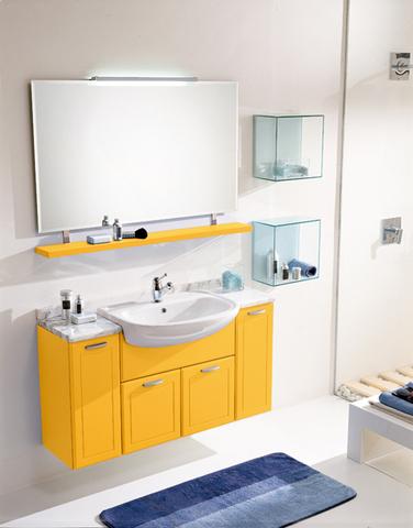 Mobile laccato giallo opaco ripiani in vetro lazio