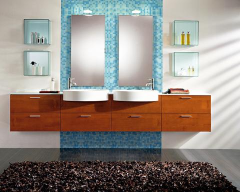 Mobile bagno sospeso doppio lavabo in cliegio roma - arredi bagno Roma