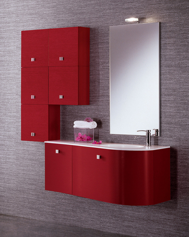 Arredo bagno rosso con piano cristallo bianco roma
