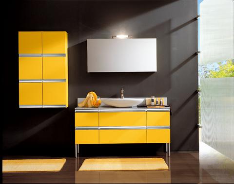 Mobile sospeso giallo con maniglia cromata lazio grandi for Ingrosso arredamenti roma
