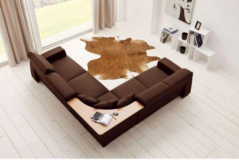 Divano angolo/tavolino stoffa marrone roma
