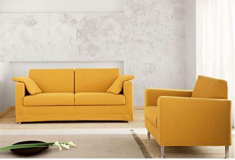 Poltrona e divano stoffa giallo roma