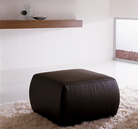 Pouf cubico in pelle nera roma