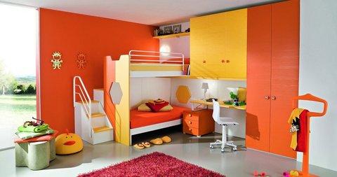 Cameretta letti a castello gialla e arancione rieti ...