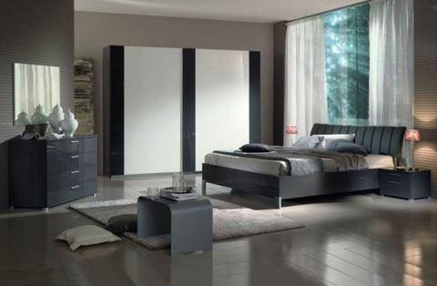 Camera moderna  gruppo letto color grigio