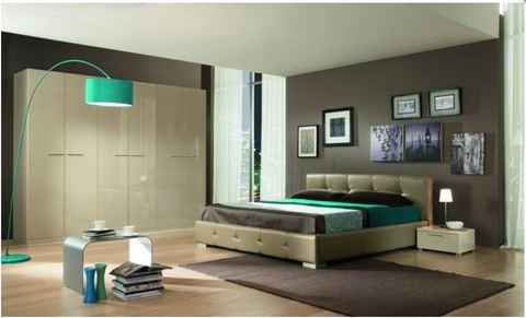Camera moderna letto ecopelle armadio lucido terni