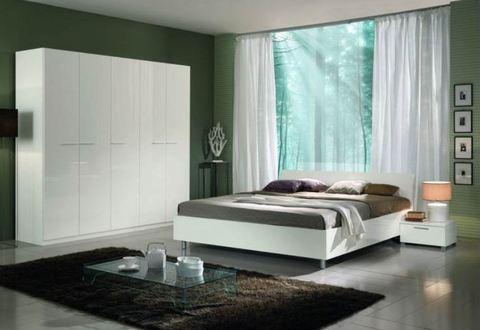 Camera moderna completa bianca lucida