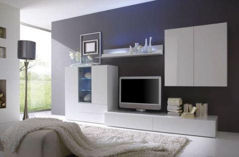 soggiorno moderno a parete bianco lucido viterbo sconto del 30 soggiorni grandi sconti. Black Bedroom Furniture Sets. Home Design Ideas