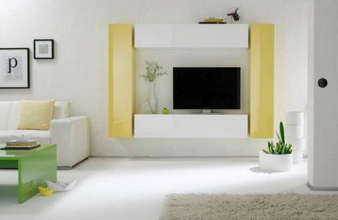 Soggiorno sospeso bianco e giallo lucido