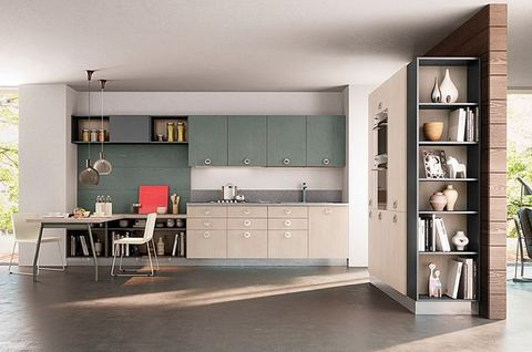 Cucina moderna rovere sbiancato e verde terni