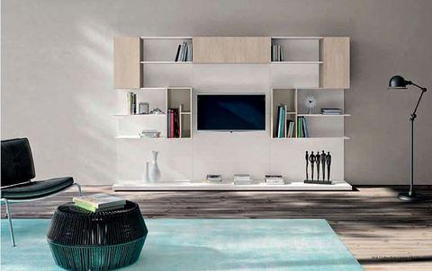 Mobile soggiorno rovere chiaro e bianco lazio