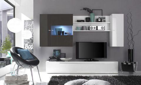 Mobile soggiorno fango e bianco lucido roma