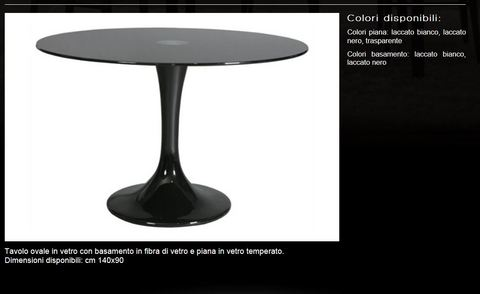 Tavolo ovale in vetro tecnolegno roma