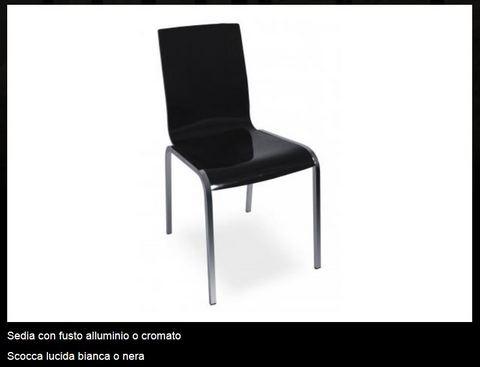 Sedia con fusto alluminio o cromato tecnolegno viterbo