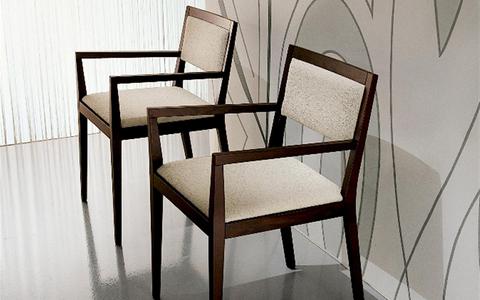 Sedie  in rovere moro con  seduta in  tessuto mobilgam