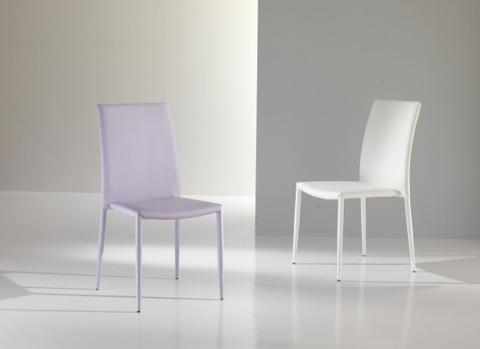 Sedia in soft ecopelle bianco/lilla maxhome roma
